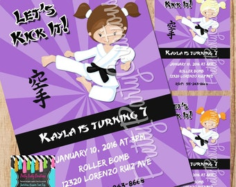 KARATE GIRL PURPLE invitation - you print - 3 to choose - with or without photo