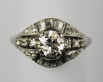 A .90 Carat Vintage European-Cut Diamond Ring 14kt