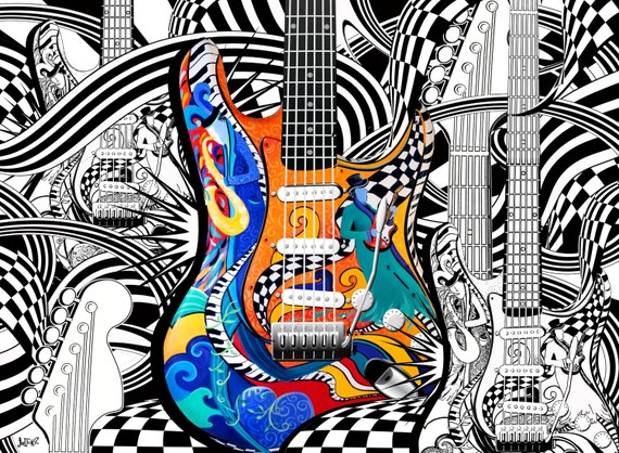 Adult Coloring Page Printable Guitar
