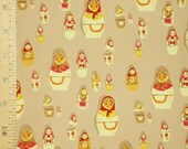 Fabric 1FQ West Hill MATRYOSHKA DOLLS Russian Doll Heather Ross Free Spirit Taupe Windham Quilting Sewing