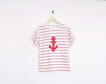 Vintage 80s Shirt. Red Stripe Sirt. Sailor Shirt. Anchor Design Nautical Top. Simple Short Sleeve Tee.