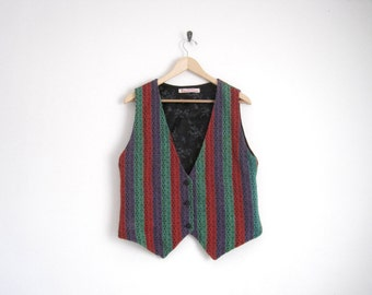 70s Embroidered Sweater Vest. Handmade Hand Woven. Folk Vest. Button Down Striped Vest. Nerd Top. Boho Bohemian. Unise Mens Vintage.