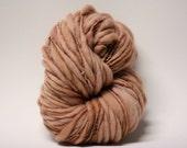 Hand spun Thick and Thin Merino Yarn Wool Slub  Hand Dyed tts(tm) Light Brown 000x