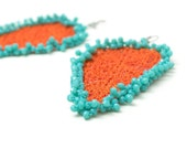 Earrings, Orange Turquoise Leaf Faceted Crystals Crochet Beaded Oversized Statement Jewelry, Fiber Art, Bohemian, WORLWIDE FREE SHIPPING