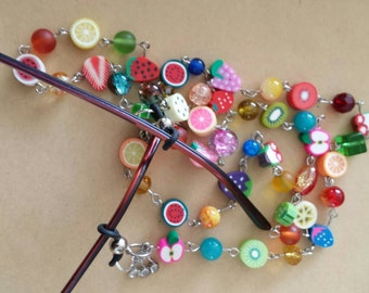 Sale was 13 now 11uk Fimo Fruits and Beads Sunglasses/ Spec necklace.