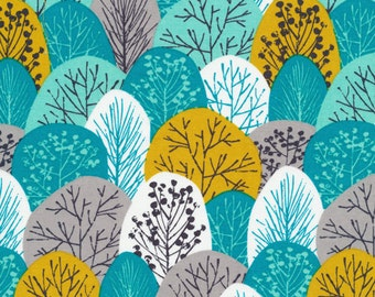 First Light Spring Woodland in Turquoise, Eloise Renouf, 100% GOTS-Certified Organic Cotton, Cloud9 Fabrics, 133603