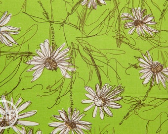 Suzuko Koseki Small Marguerite Daisy in Lime Green, Yuwa Fabric, SZ826012D, 100% Cotton Japanese Fabric