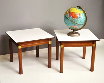 Pair of J.B. Van Sciver Wood and Brass Side Tables