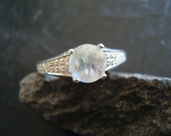 CLEARANCE! Snow - Genuine Rainbow Moonstone & Diamond Engagement Ring, 925 Sterling Silver Ring, Alternative Engagement Ring, Gifts For Her