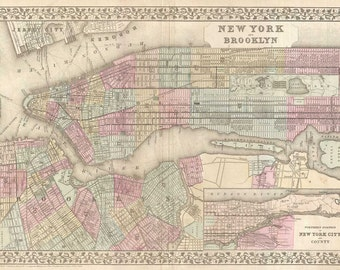 Vintage Print of New York City Map on Canvas Photo Paper or Matte Nautical Chart manhattan 1800s ny nyc blueprint