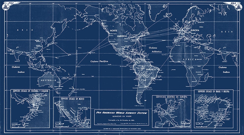 Print of antique vintage map pan american world airways system on print of antique vintage map pan american world airways system on photo or matte paper or canvas airline chart travel globe plane art gumiabroncs Choice Image