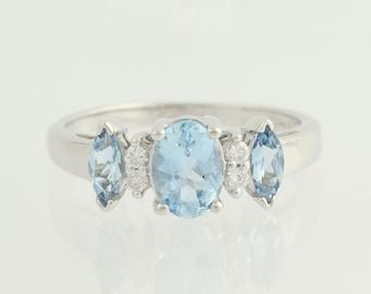 Blue Topaz & Diamond Ring - 14k White Gold Womens 1.40ctw N183