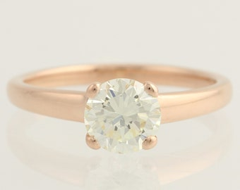 Engagement Ring 1.06ct Diamond Solitaire - 14k Rose Gold Very Well Cut Round L5470