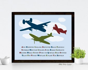 Airplane Kids Alphabet Words Poster -- Nursery Art Print -- Boy Decor -- Custom Colors