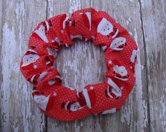 Red Santa Christmas Fabric Riley Blake Hair Scrunchies Ponytail Holder
