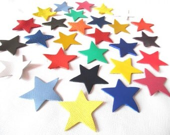 Leather Stars (50 pieces) Lambskin / Genuine Leather.For Accessories, Crafts ,Jewelry,Decorations,Bags...Leather Crafts