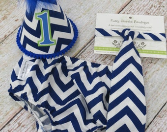 Boys First Birthday Outfit Cake Smash Diaper Cover Tie and Party Hat Outfit in Royal Blue and White Chevron