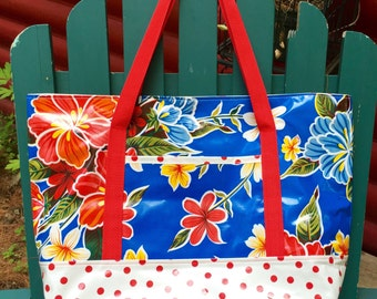 Wet/dry oilcloth tote bag