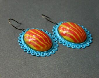 Summer Earrings, Retro Earrings, Orange, Yellow, Blue, Vintage Earrings, Statement Earrings, Stripe Earrings, Carnival Earrings, State Fair