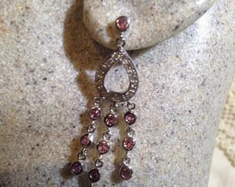 Vintage Handmade sterling silver diamond look Pink Tourmaline Gemstone Chandelier earrings