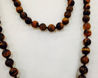 Nemesis hand knoted vintage tiger's eye beaded necklace