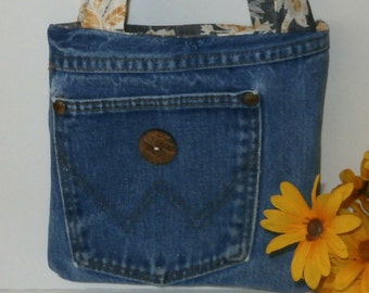 Small Denim Tote Bag Purse, Upcycled Wrangler Blue Jean Handbag, Cowgirl, 70's Fashion, Retro, Fully Lined, with Fabric Phone Case