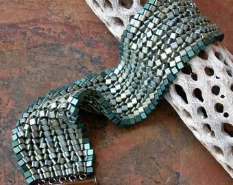 Green Herringbone Stitched Cuff Bracelet