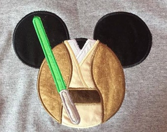 Jedi with Mouse Ears Great for a Disney vacation Embroidered/Appliqued Tee