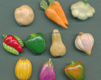 Vegetable buttons #5 - lot of 10