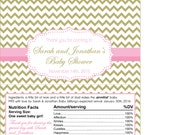 Baby Shower Chevron Gold and Light Pink Chocolate Bar Wrapper for Favors for Candy Buffet or Cute Personalized Favors - print your own