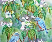 Bluebirds Watercolor Painting Print, White Dogwood Tree, blue,. green, white Small, Medium, bird nature watercolor