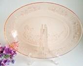 Pink Depression Glass Platter Rose of Sharon or Cabbage Rose 1930's