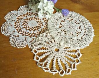3 Doilies Doily Crocheted Doily Ecru Vintage Doilies  D9