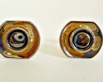 Vintage  Cufflinks Mid Century Alaskan Diamond Hermatite Goldtone 1950's