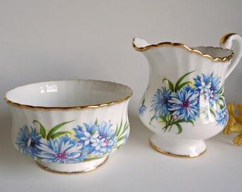 Vintage Paragon Cream and Sugar Set Blue Cornflower