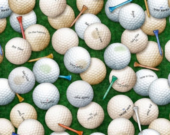 Fabric by the Yard-Tee'd Off- Golf Balls & Tees in Green- by Dan Morris for Quilting Treasures
