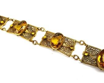 Art Deco Bracelet, Amber Topaz Glass Bracelet, Gold Bracelet, Brass Filigree, Vintage Jewelry, Antique Jewelry