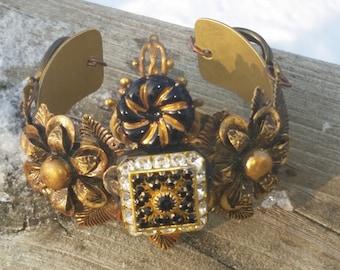 Baroque Etruscan Cuff Bracelet.Brass & Swarovski cab floral regency cuff.Outlander. Queens jewelry.Game of Thrones.Repurposed brass