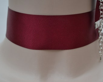 Plain Classic BURGUNDY RED Double Satin WIDE 35mm 1.5 inch Ribbon Choker Necklace- fr... or other colours, handmade to size :)