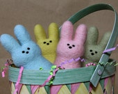Set of 4 Needle Felted Wool Easter Bunny Peep - Yellow Pink Green Blue