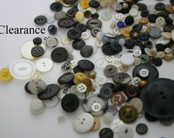 Assorted Button lot, Mixed Vintage Buttons, Plastic Buttons, Plastic and Metal Buttons, Button Variety, Crafting Buttons, Sewing Buttons
