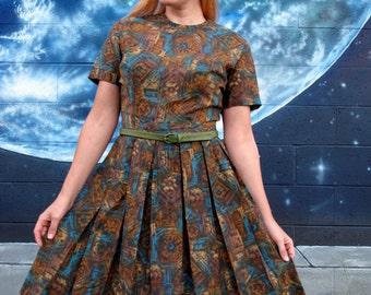 1950s detailed DRESS mosaic circle skirt pinup pleat midi jewel tones & browns // size S / M