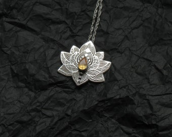 Lotus Necklace - Water Lily Necklace - Sterling Silver Flower Necklace - Citrine Necklace - Heart Chakra Necklace