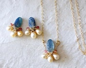 SET: 14k Solid Gold - Kyanite, tourmaline, & freshwater pearl necklace and earrings - wire wrapped jewelry