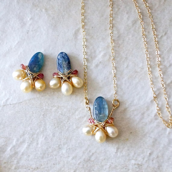 SET: Kyanite, tourmaline, & freshwater pearl necklace and earrings - wire wrapped jewelry - 14k gold filled