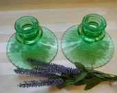 CANDLESTICKS, Beautiful Pair of Vintage Etched Green Glass Candlesticks