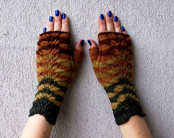 Fingerless Arm Warmers Knitted Gloves Striped Hand Warmers Fall Mittens Women Gloves Herb Garden Mitts Fingerless Mittens Handmade gloves