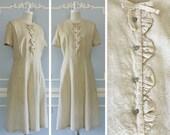1950s Cream Party Dress --> 1950s Dress XL  --> 1950s Plus Size Vintage Dress --> Casual Wedding Dress --> Vintage Cream Dress --> City Hall