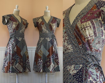1970s Block Print Wrap Dress --> 1970s Indian Dress --> 1970s Cotton Dress --> Vintage Wrap Dress -->  --> 1970 Dress --> 70s Dress --> Boho