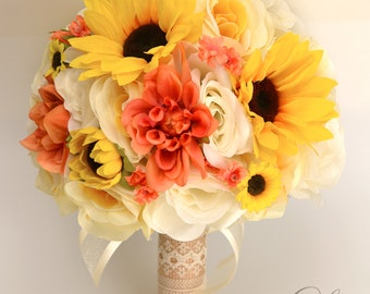 "17 Piece Package Wedding Bridal Bouquet Silk Flowers Bouquets CORAL YELLOW SUNFLOWER Ivory Orange Rustic Burlap Lace ""Lily of Angeles ORYE06"